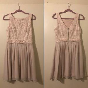Nude/Light Pink Empire Waist Cocktail Dress